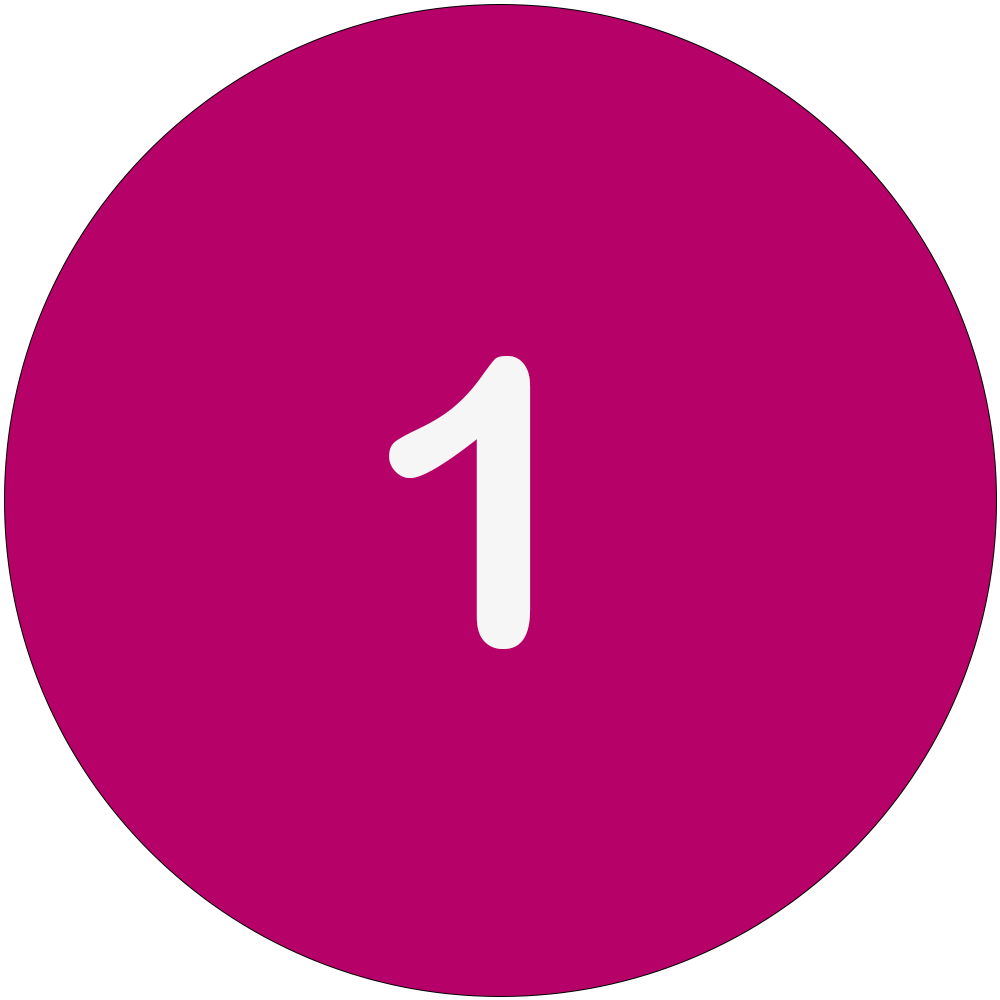 Magenta circle with a white number 1 in the middle.