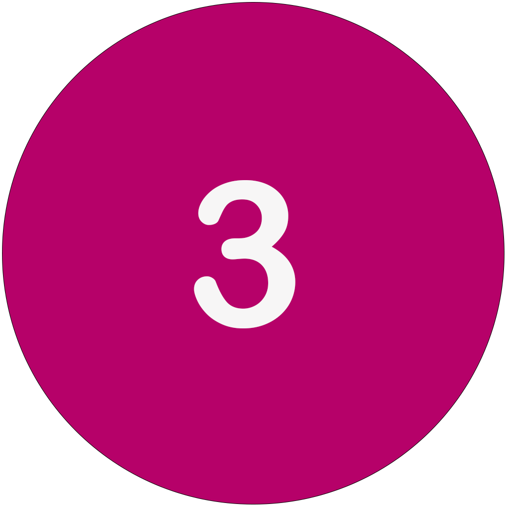 Magenta circle with a white number 3 in the middle.