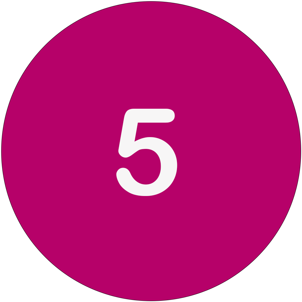 Magenta circle with a white number 5 in the middle.