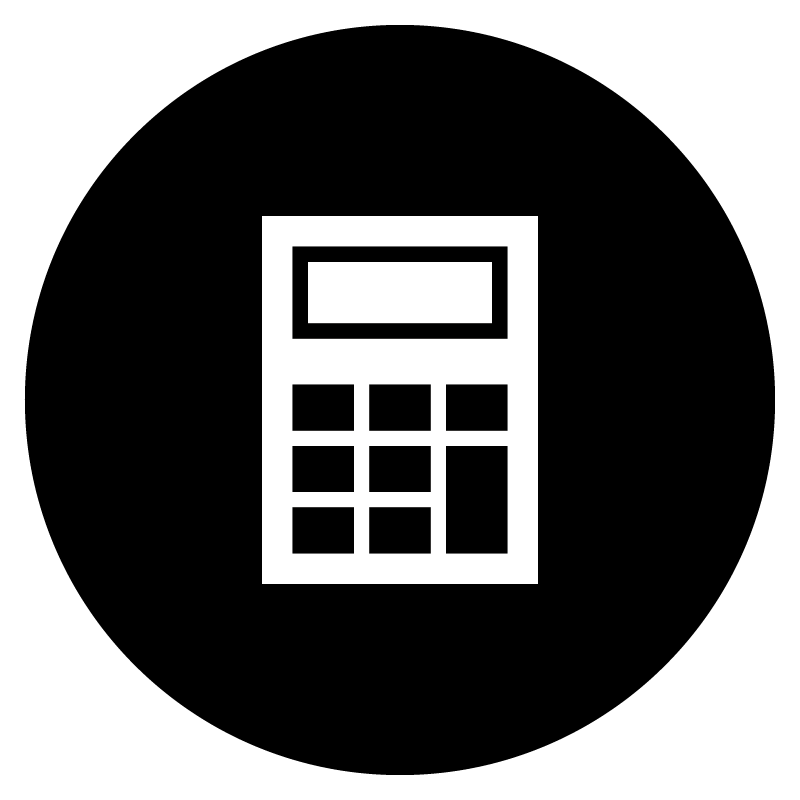 White icon of a calculator on a black circular background.