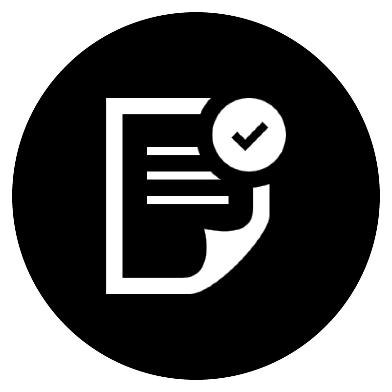 White icon of a document on a black background.