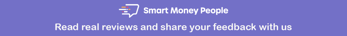 Blue banner with text. Read reviews and share feedback with us on Smart Money People.