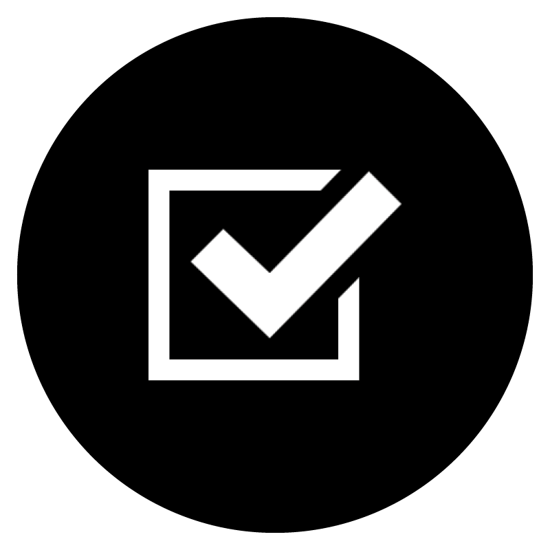 White icon of a tick box on a black circular background.