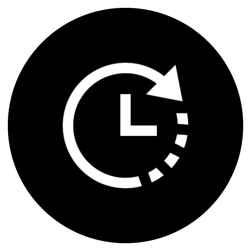 White icon of a clock on a black, circular background.