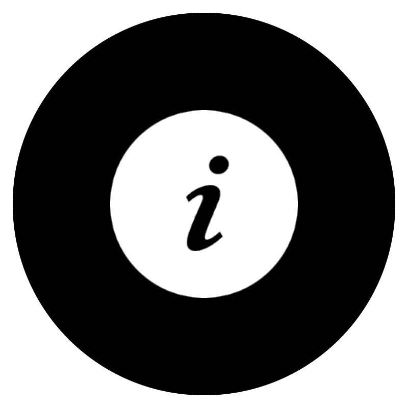 Black icon of an explanation mark on a white circular background.