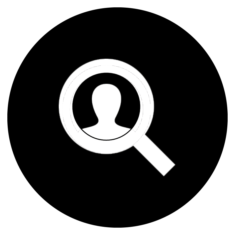 White icon of a person and magnifying glass on black, circular background.