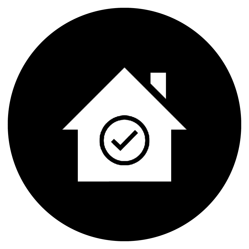 White icon of a house and tick box on a black, circular background.