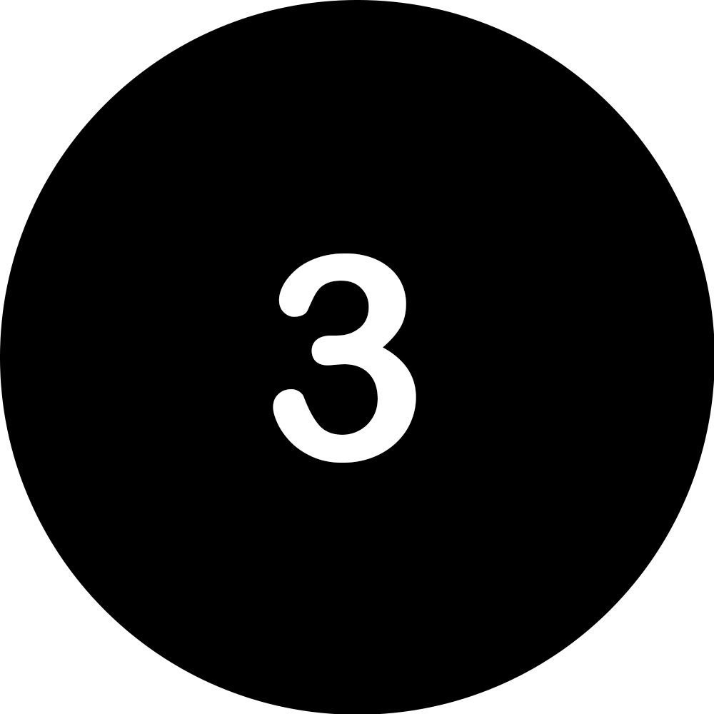 Black circle with a white number 3 in the middle.