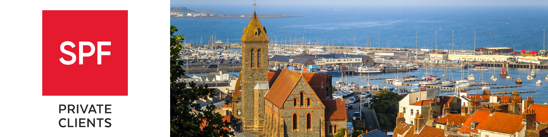 View of the Saint Peter Port at sunrise. Bailiwick of Guernsey, Channel Islands